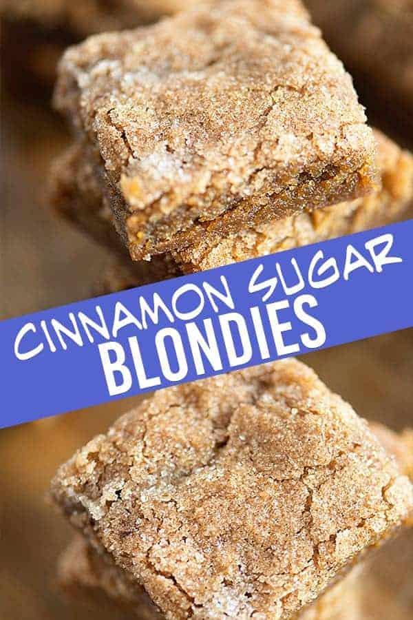 cinnamon sugar blondies photo collage