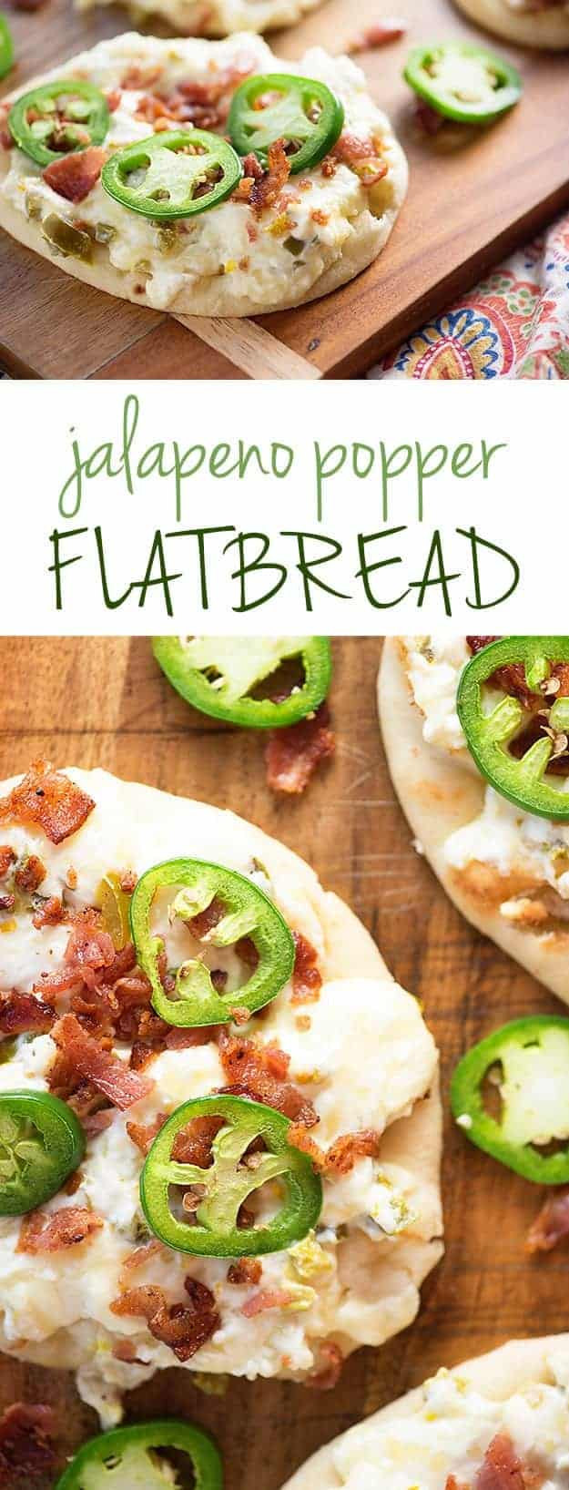 Flatbread topped with jalapenos, bacon, and cream cheese.