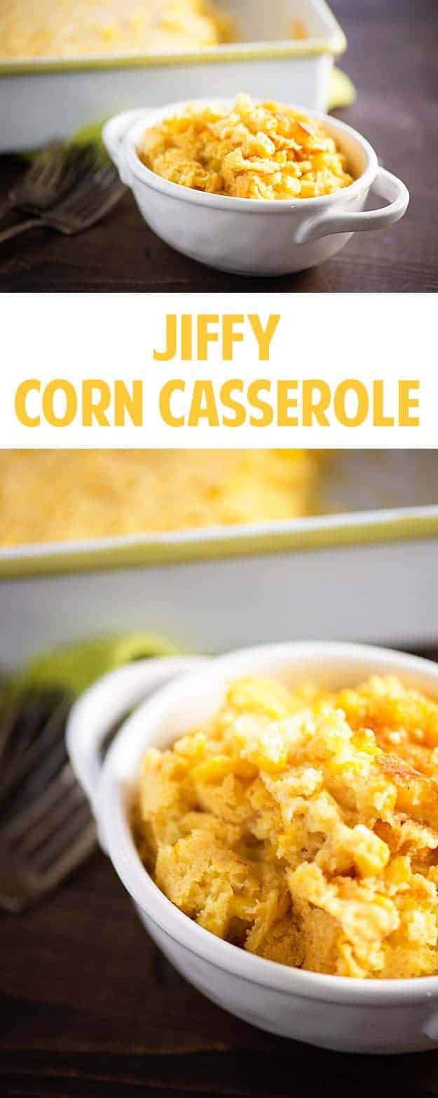 This Jiffy Corn Casserole takes just a few minutes to toss together and bakes up so creamy. My kids ask for this at least once a week!