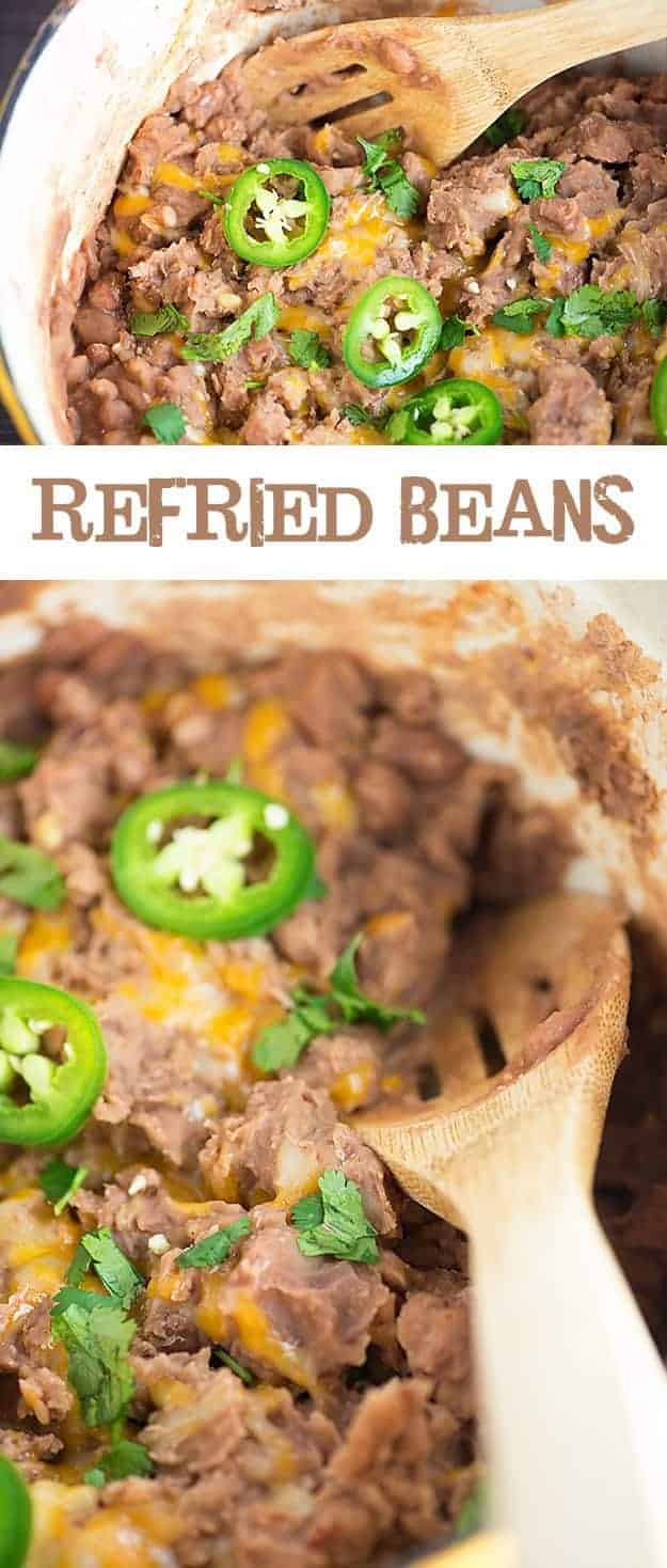 These refried beans are made from scratch and just take about 10 minutes of hands on time! So much better than that weird paste from a can!