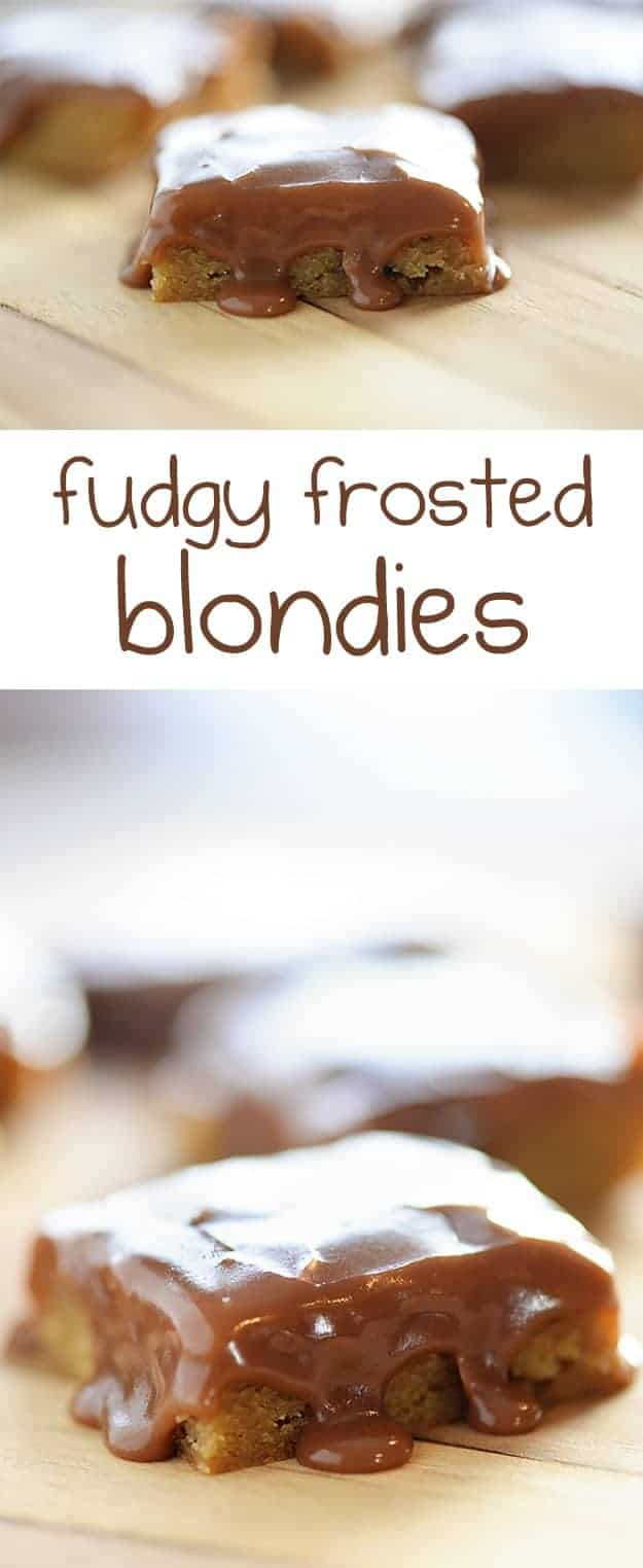 My favorite chewy blondies (just one bowl!) are topped with my favorite fudgy chocolate frosting!