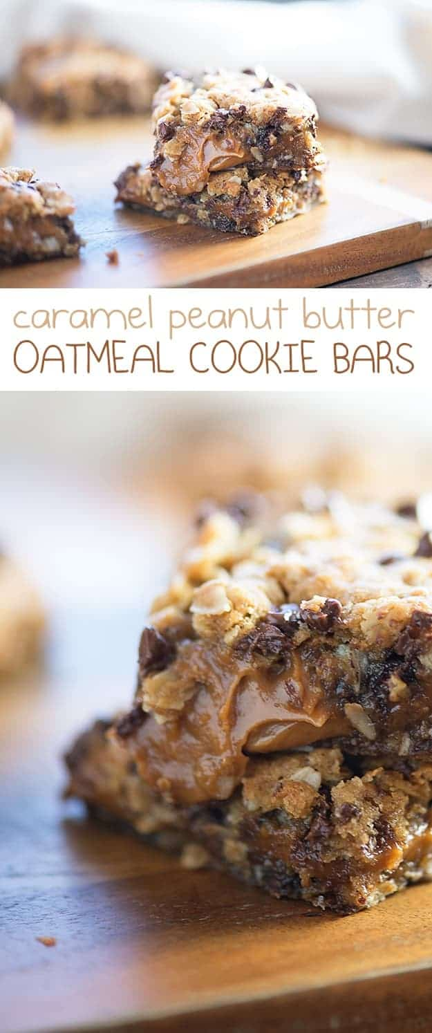 These easy oatmeal chocolate chip cookie bars are bursting with a thick and gooey caramel peanut butter sauce. Your kids are going to love this bar dessert!