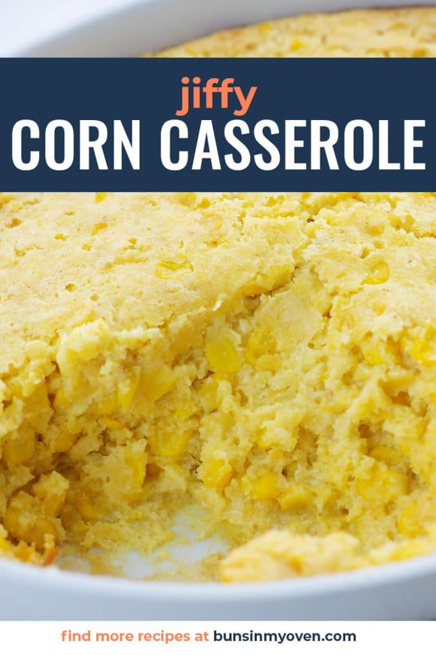 corn casserole in white dish.