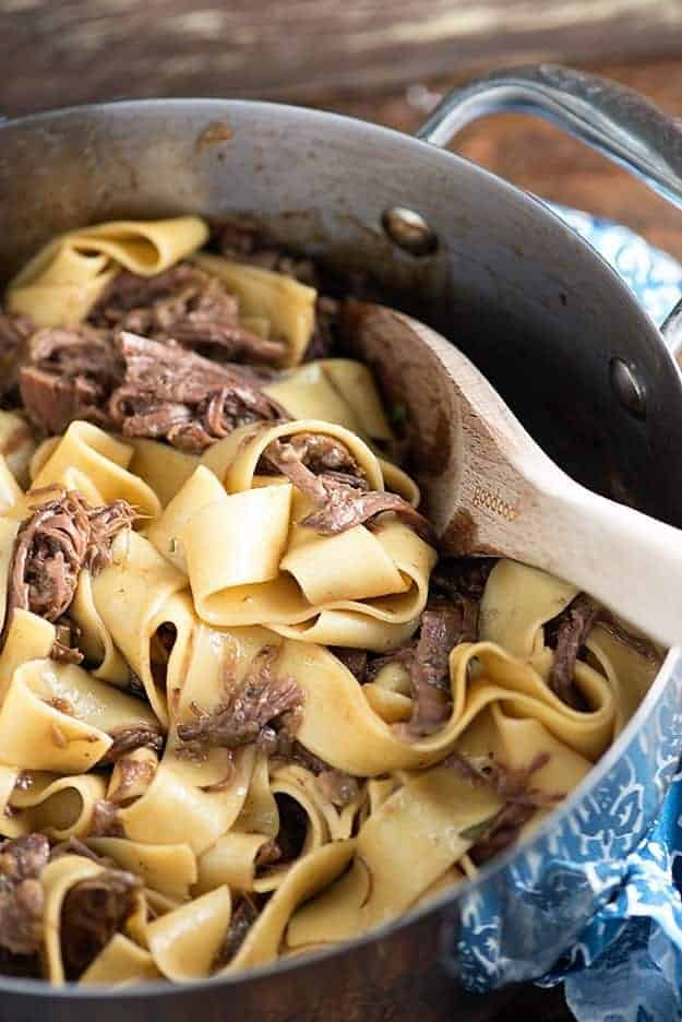 beef and noodles in pot.