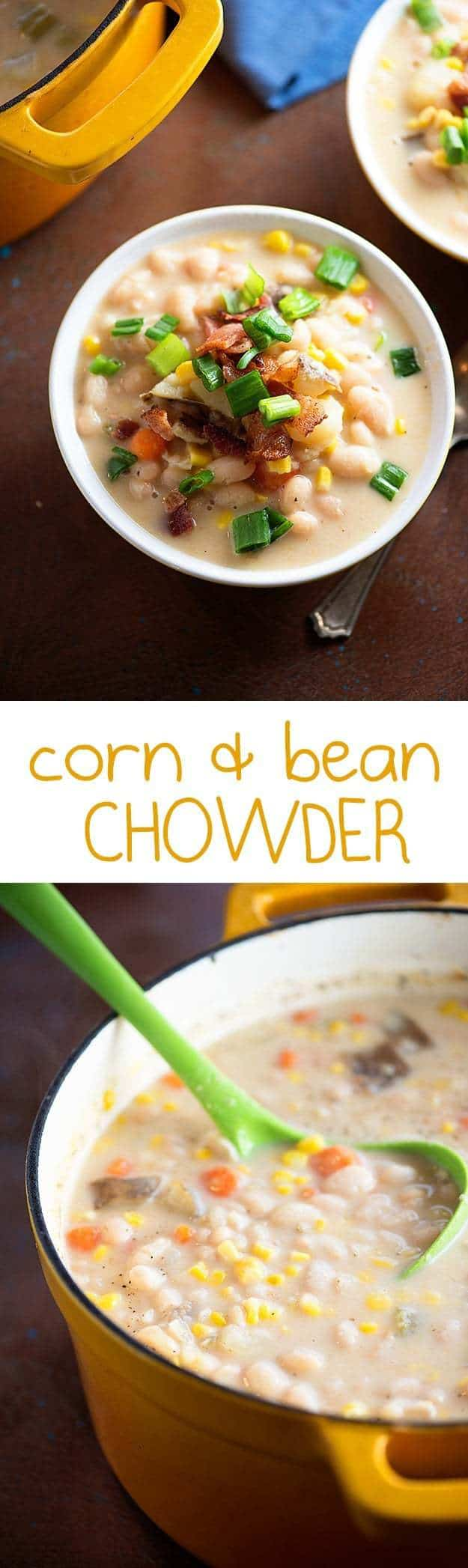 This sweet corn and bean chowder is loaded with fresh veggies and beans! We love this chowder recipe!