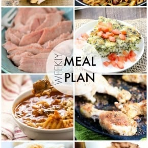 An easy weekly meal plan full of family friendly dinners and desserts!