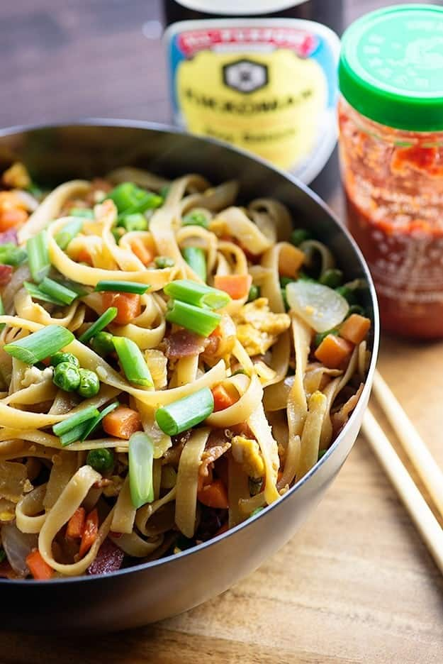 This easy lo mein recipe is packed with bacon. This is a favorite recipe for busy weeknights!