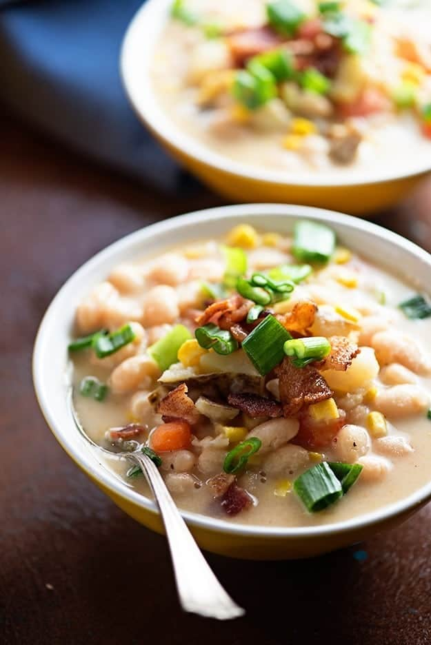 This sweet corn and bean chowder is loaded with fresh veggies and beans! It's such a light dish, but super filling.