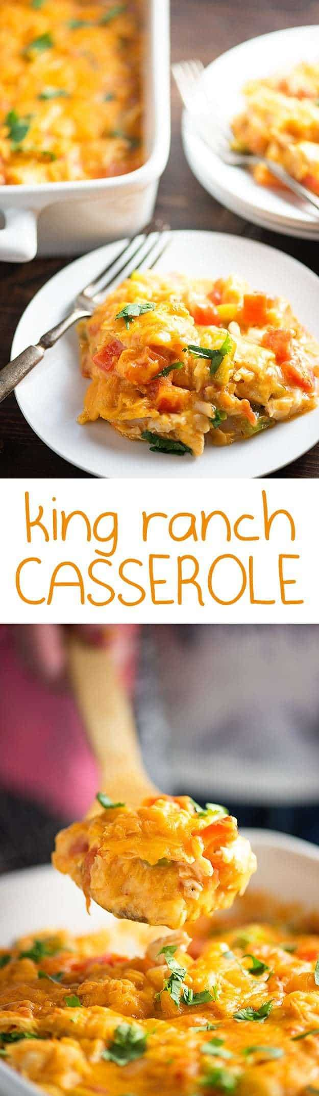 King ranch casserole on a white plate.