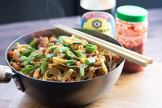 lo mein recipe with bacon in small wok