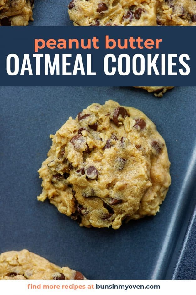 peanut butter oatmeal chocolate chip cookies on baking sheet
