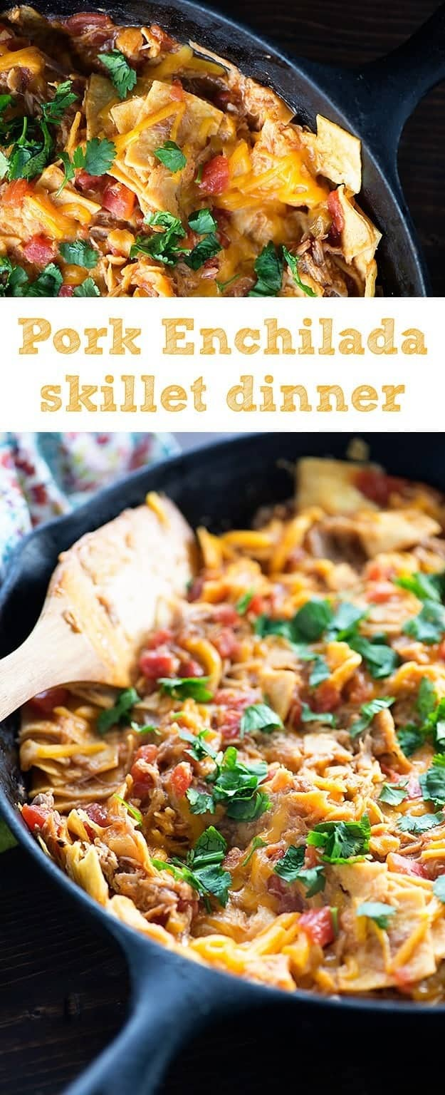 A skillet with cheese and pork in it.
