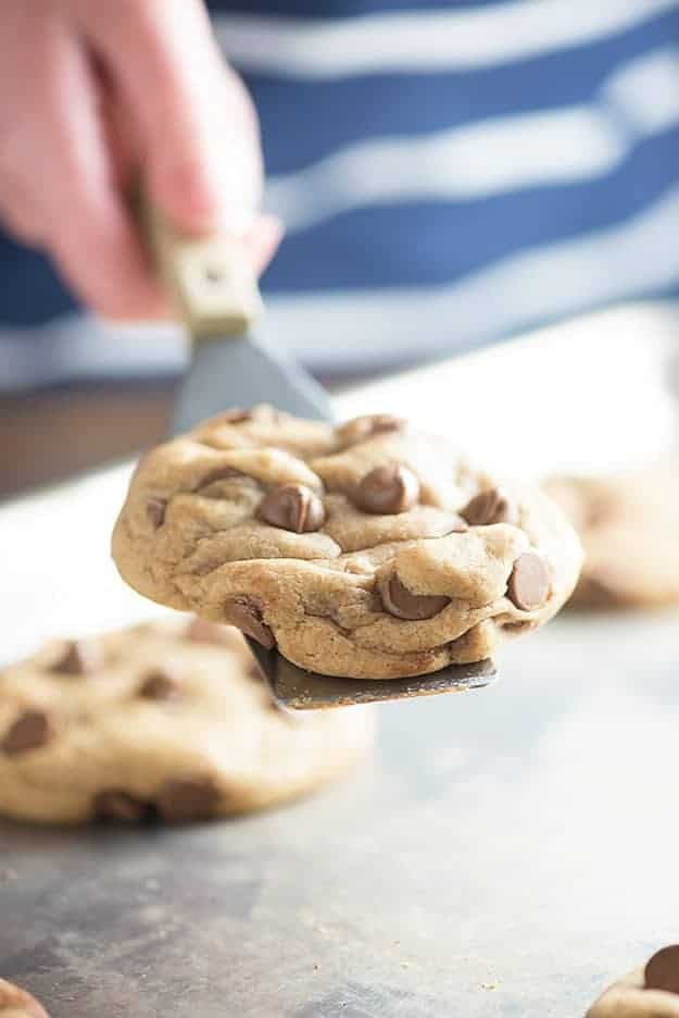 My perfectly thick and chewy chocolate chip cookies! Best part: NO CHILLING THE DOUGH!