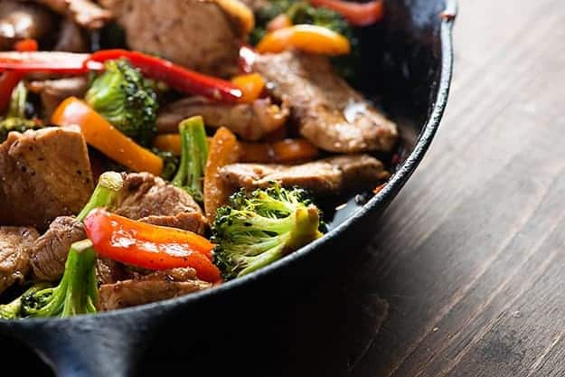 pork stir fry in skillet