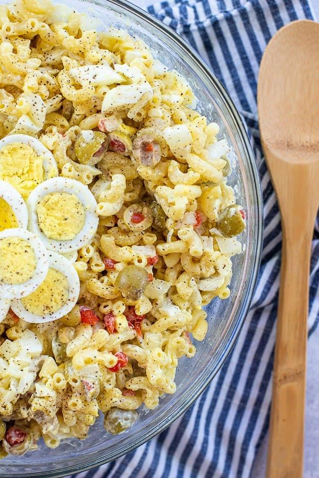 macaroni salad in mixing  bowl.