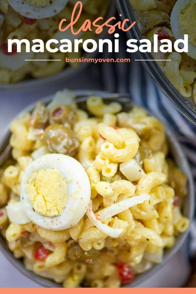 overhead view of macaroni salad recipe in white bowl.