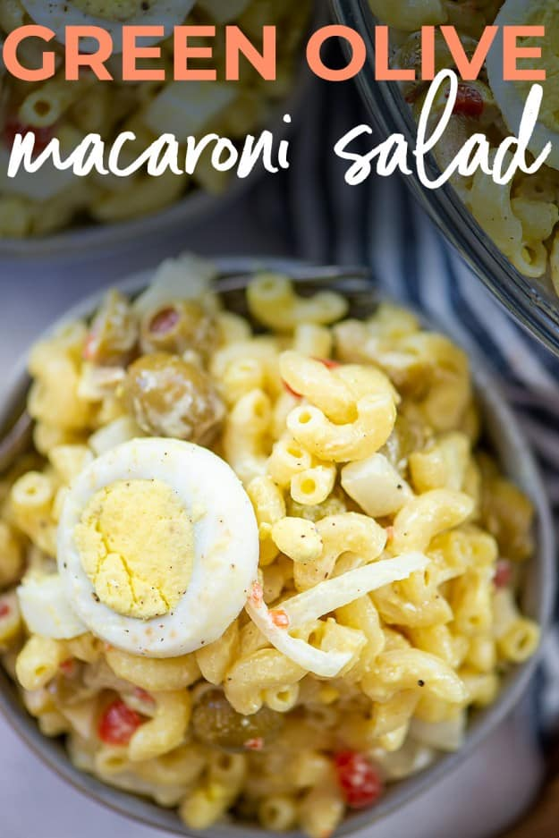 green olive macaroni salad with text for Pinterest.