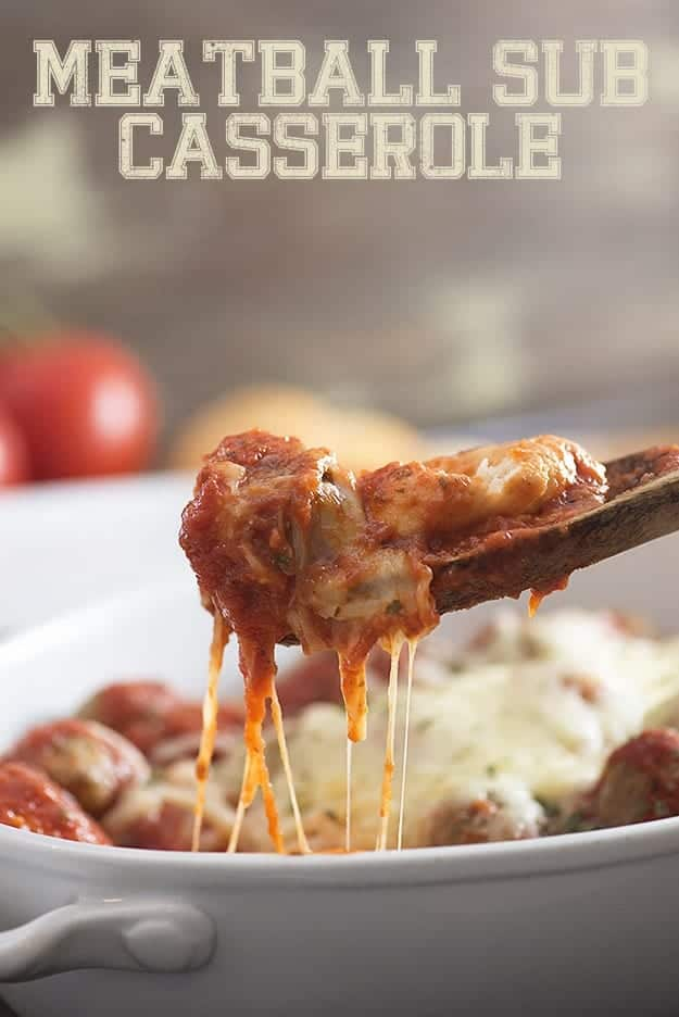 This meatball sub casserole is a total man pleaser! And it's just 4 ingredients, so it's the perfect easy dinner recipe!