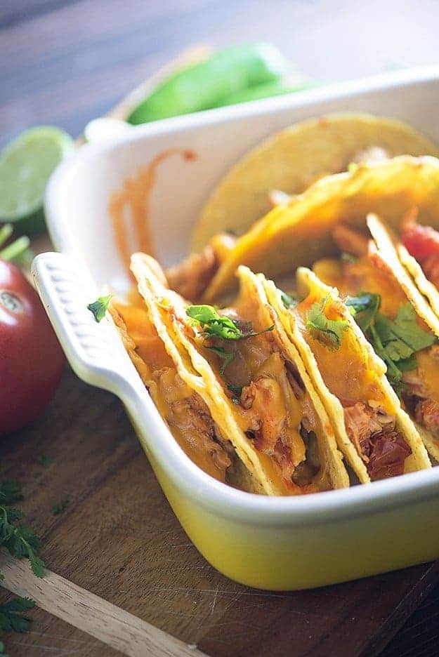 Slow cooker shredded chicken tacos! This is the easiest way to make tacos yet!!