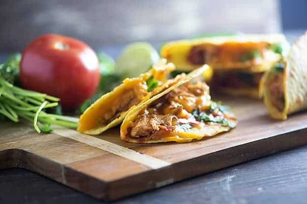 slow cooker chicken tacos in hard shell