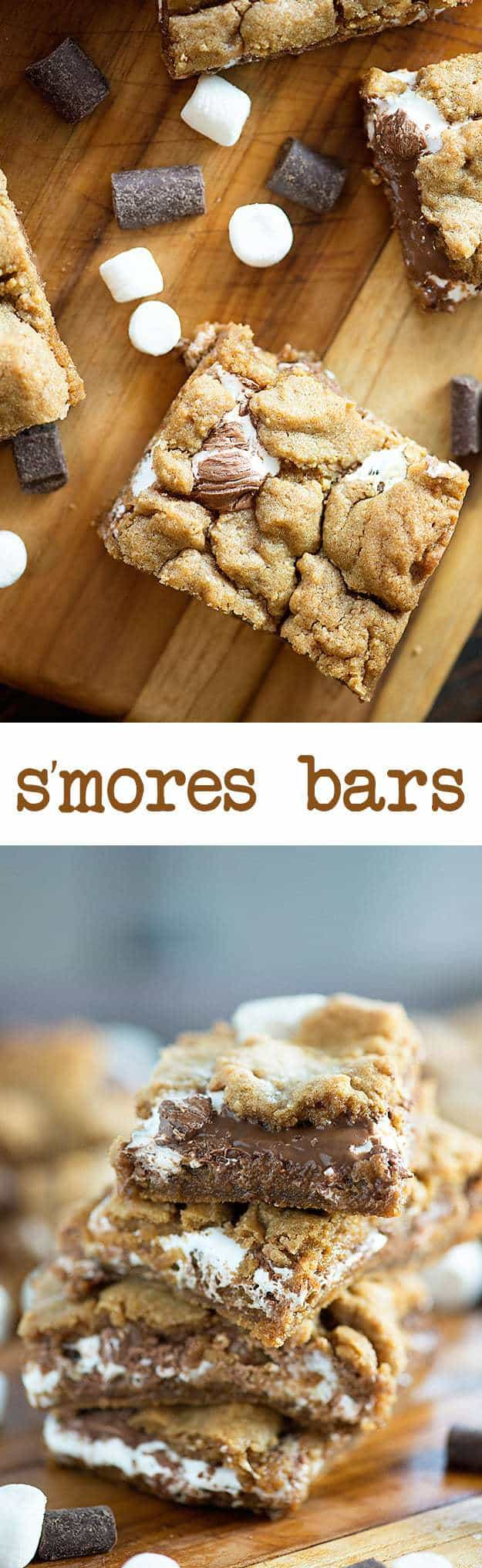 These s'mores bars are ooey gooey delicious! They're filled with Fluff and Nutella!