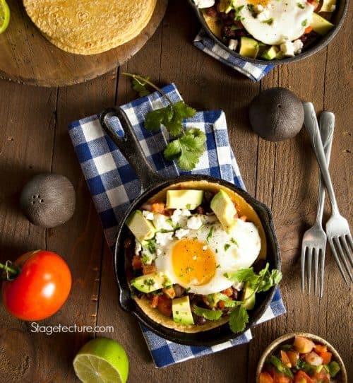 Homemade Heuvos Rancheros with Avocado and Cilantro
