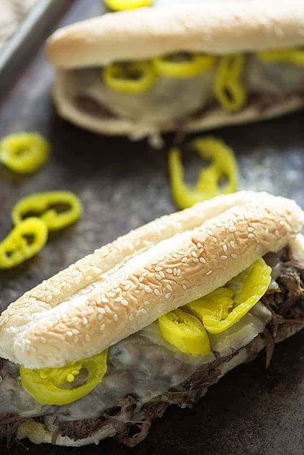slow cooker italian beef recipe on sheet pan