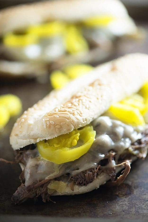 We love this simple slow cooker recipe for Italian beef sandwiches. Just a handful of ingredients and these are SO GOOD!