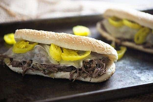 italian beef sandwiches on sheet pan