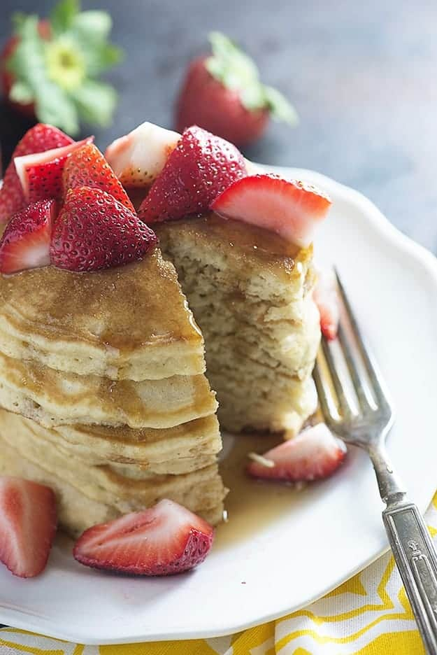Strawberry Vanilla Pancakes - just as easy as a box mix, but oh so much better!