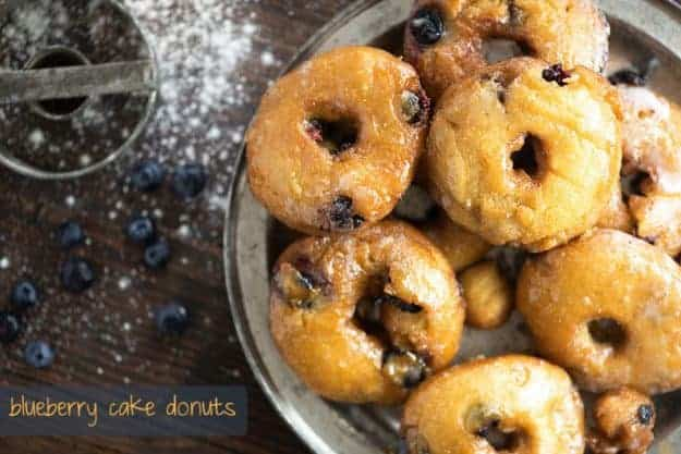 blueberry cake donuts on tin plate
