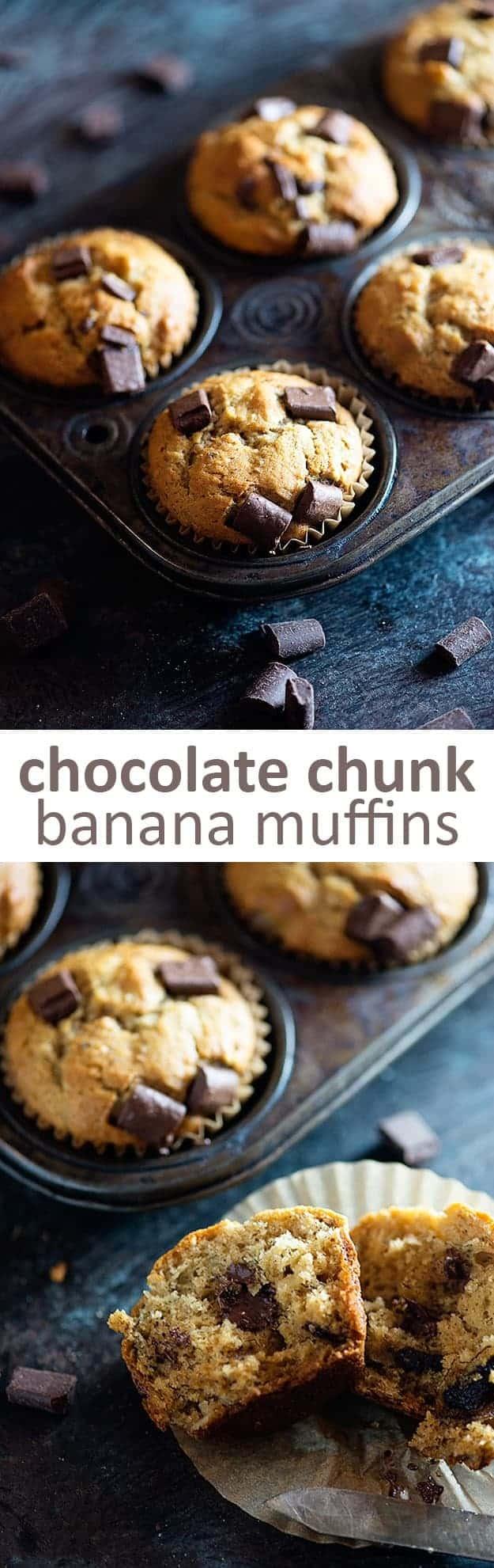 chocolate chunk banana muffins in muffin tin