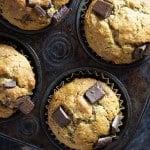My kids and I LOVE these fluffy chocolate chunk banana muffins.