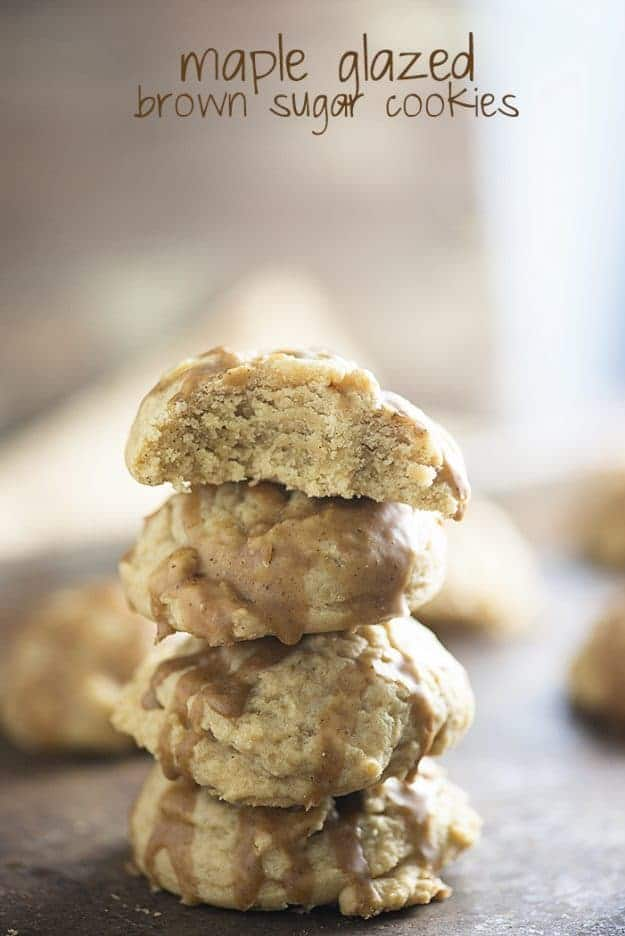 Thick and chewy brown sugar cookies topped with a simple maple glaze!