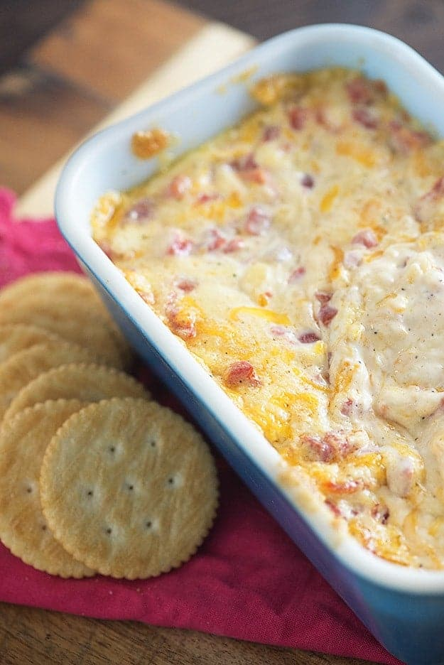 This pimento cheese recipe is baked until warm and melty! It's perfect for dipping crackers in!