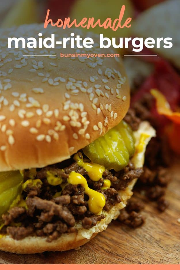 homemade maid-rite burgers on bun with pickles.