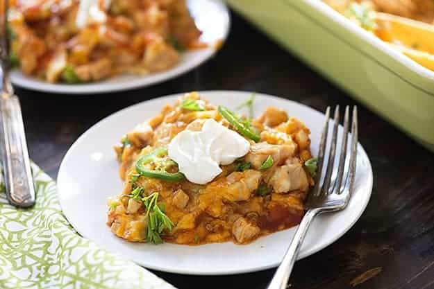This tamale casserole is topped with shredded chicken. It's such a perfect dinner to satisfy those Mexican cravings!