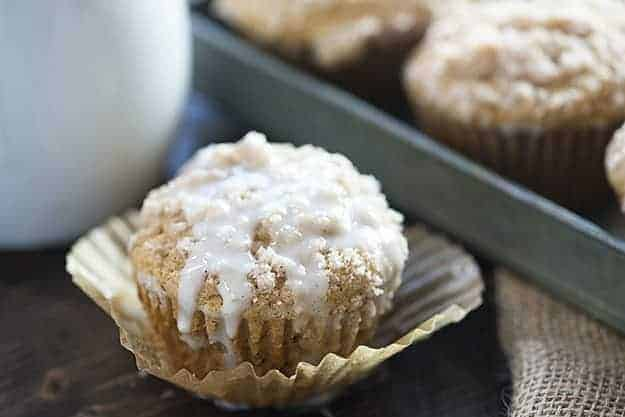 These applesauce muffins are the perfect fall breakfast. My kids love the streusel topping!