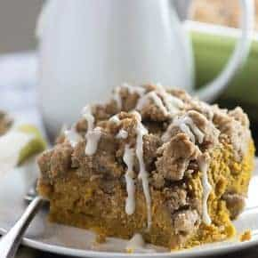 This pumpkin coffee cake is super moist and dense, kind of like a pumpkin pie. The huge streusel topping is so good, too!