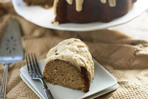 This applesauce cake is perfectly moist and sweet. The browned butter glaze on top is my favorite part.