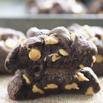 These thick and chewy chocolate cookies are loaded with peanut butter chips! Eat this warm with a big glass of milk!