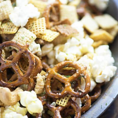 A close up of snack mix.