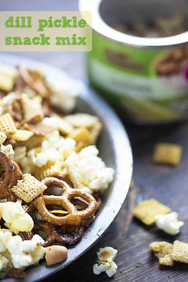 A snack mix in a bowl.
