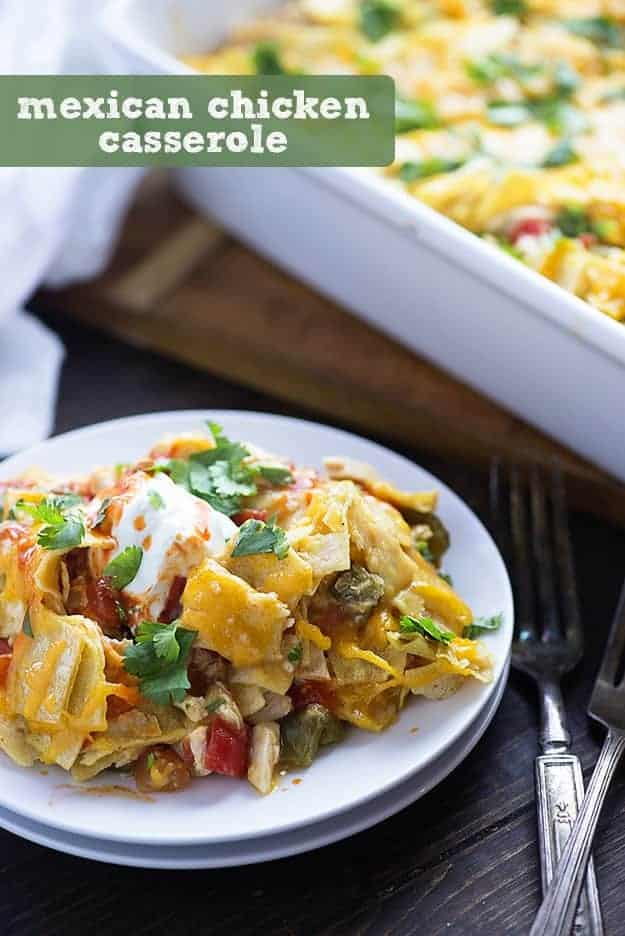 This Mexican chicken casserole recipe is perfect for a busy weeknight. Just a handful of ingredients and it bakes up in no time! We love the cheesy layers!