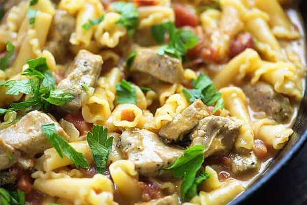 This one dish pasta recipe is loaded with pork, tomatoes, cheese, and onions for a quick dinner recipe that is ready in less than 30 minutes!