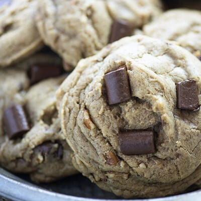 These chocolate chip cookies are big, thick, and chewy - just the way I like them! I loaded these up with toasted pecans and toffee bits to make them even better!
