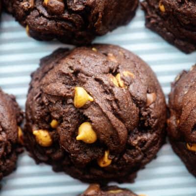 chocolate peanut butter cookies on baking sheet.