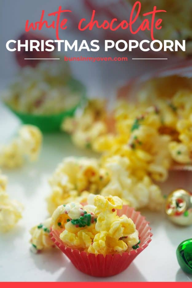 white chocolate Christmas popcorn with sprinkles on top.