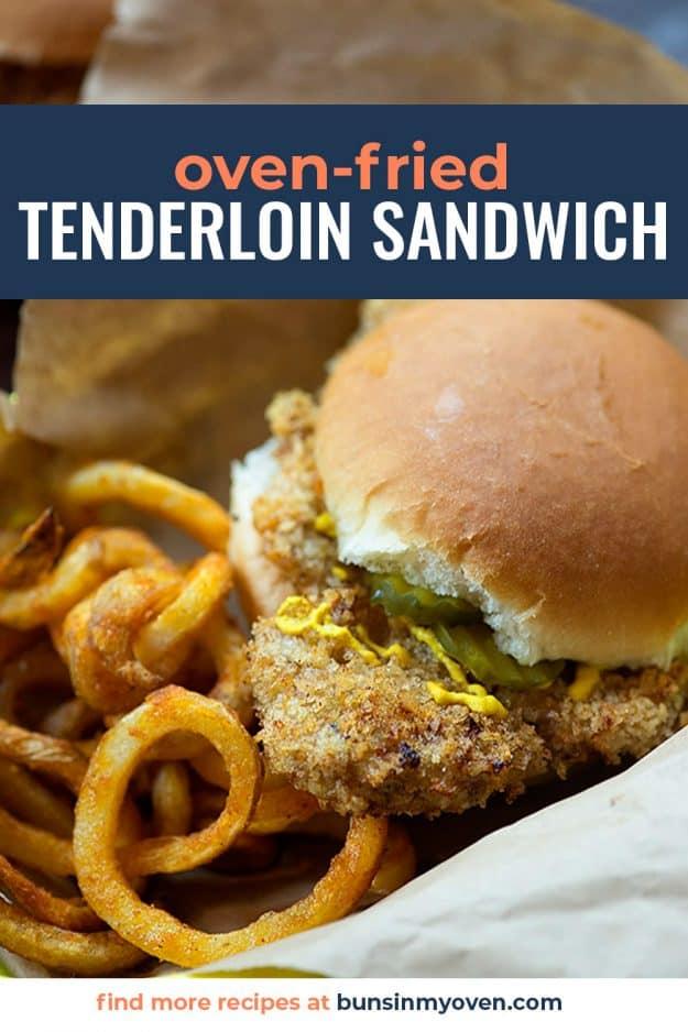 pork tenderloin sandwich on bun