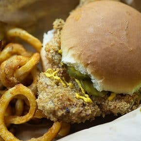 These crispy pork tenderloin sandwiches are fried right in the oven to make life easy!